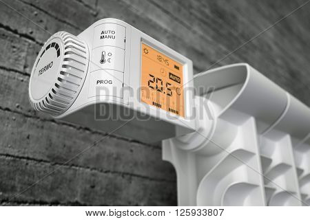 Radiator thermostat controller on heater. Closeup. 3d illustration