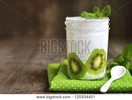Chia Pudding With Kiwi Slices.