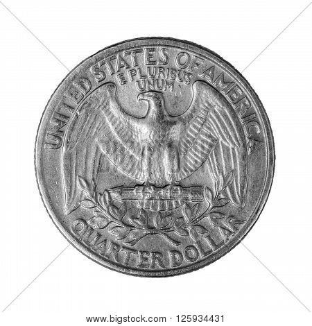 Coin quarter dollar 25 cents, USA. Isolated on white.