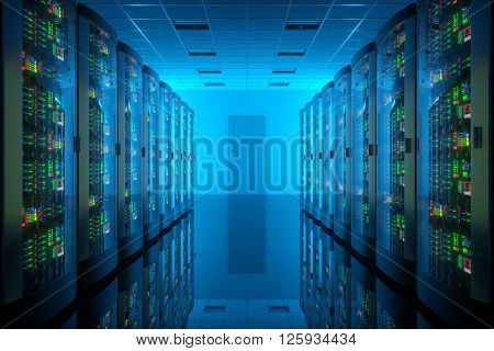 Server room in data center. Telecommunication technology. 3D