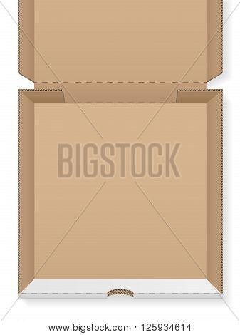 Cardboard pizza box empty on a white background