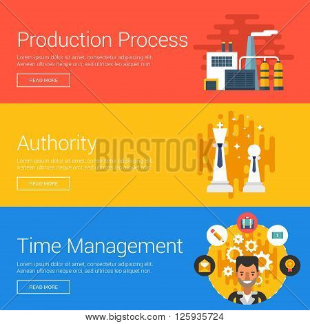 Production Process. Authority. Time Management. Flat Design Vector Illustration Concepts for Web Banners and Promotional Materials