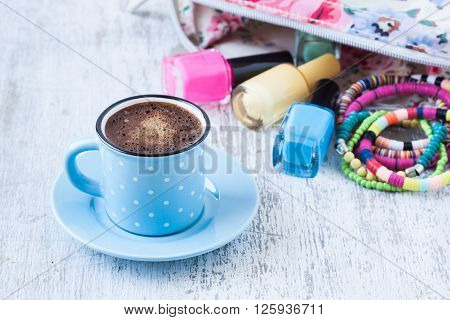 Turkish coffee with summer concept on  a white wooden background