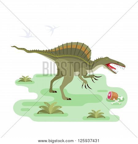 Eating Spinosaurus. Prehistoric carnivore dinosaur. Spiny lizard. Small location pristine landscape for map or game. Extinct animal. Flat vector illustration.