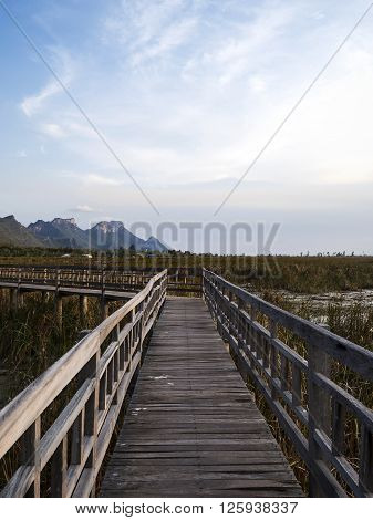 Beauty landscape with mountain under blue sky and cloud with wooden bridge on the pond at Thailand (Sam Roi Yot Freshwater Marsh)