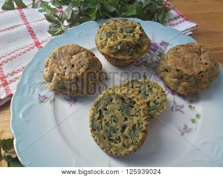 Squash goutweed muffins on plate, cooking with wild plants