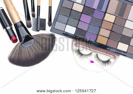 Selective Focus On Professional Makeup Brushes ,red Lipstick And Eyelash