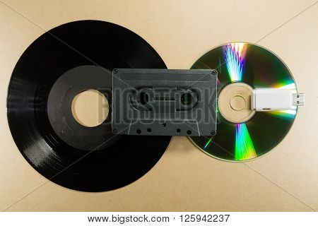 Concept of music evolution. Musicassette cd and usb support. Vintage and modern. Supports for music