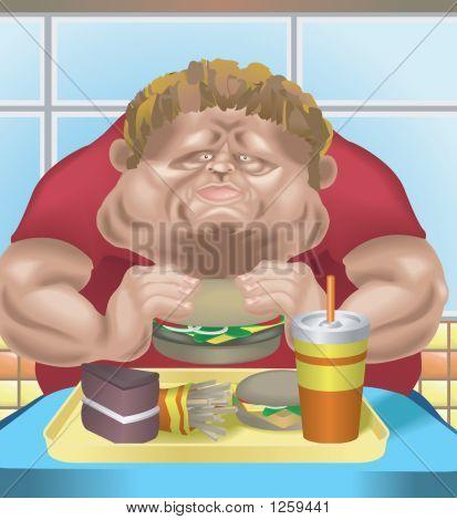 肥胖男子在快餐厅