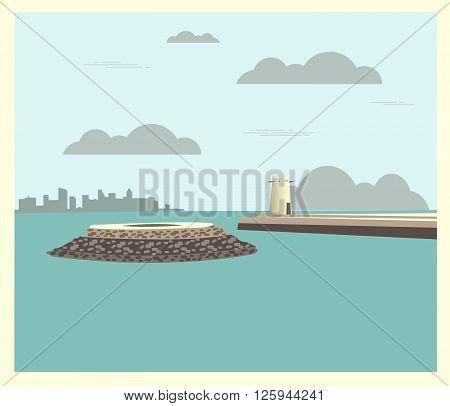 City buildings graphic template. Qatar. Fort Umm Salal Mohammed. Vector illustration