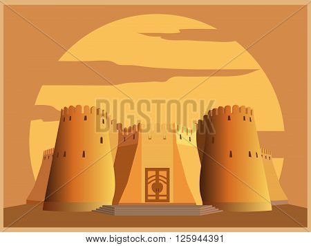 City buildings graphic template. Tajikistan fortress. Vector illustration