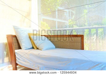 Bed on the balcony room in island