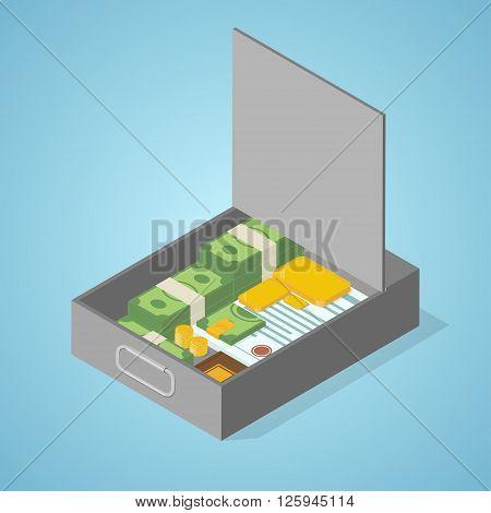 Safe deposit box. money Isometric vector illustration.