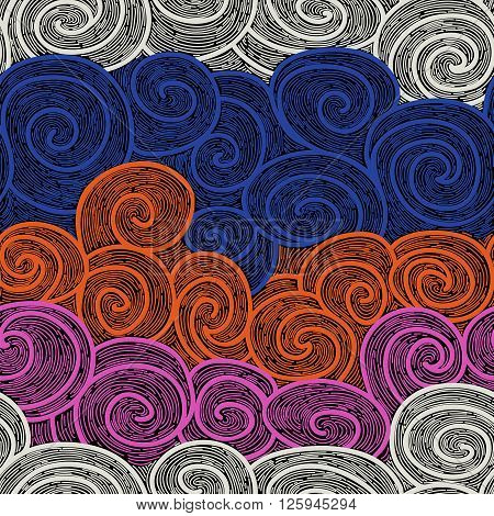 red whorl seamless pattern. imitating hand drawn