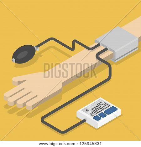 Blood pressure monitor on hand. Isometric vector illustration