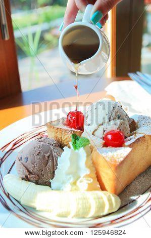 Honey toast with banana maple syrup and ice cream