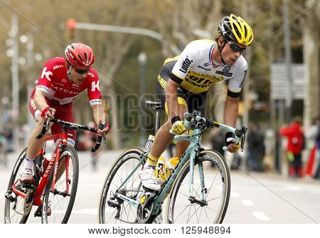 BARCELONA - MARCH, 27: Primoz Roglic(R) of LottoNLâ??Jumbo and Alexey Tsatevich(L) of Katusha during the Catalonia cycling race through the streets of Monjuich mountain in Barcelona on March 27, 2016