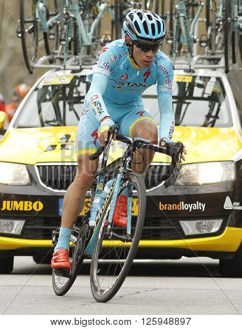 BARCELONA - MARCH, 27: Miguel Angel Lopez of Astana Team rides during the Tour of Catalonia cycling race through the streets of Monjuich mountain in Barcelona on March 27, 2016