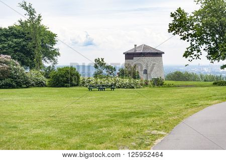 Small fort known as a Martello Tower on Plains of Abraham overlooking the St. Lawrence River