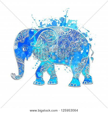 Greeting Beautiful card with Elephant. Frame of animal made in vector. Elephant Illustration for design, pattern, textiles. Hand drawn map with Elephant. Watercolor blue, bright magical baby elephant