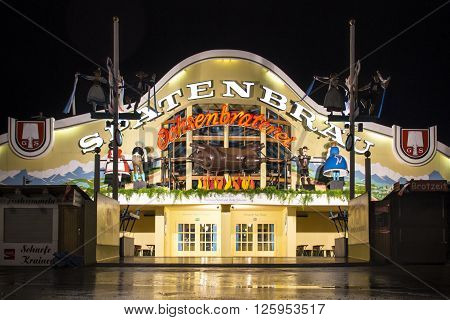 MUNICH, GERMANY - SEPTEMBER 18, 2015: Nightshot of the Ochsenbraterei tent on Theresienwiese during Oktoberfest