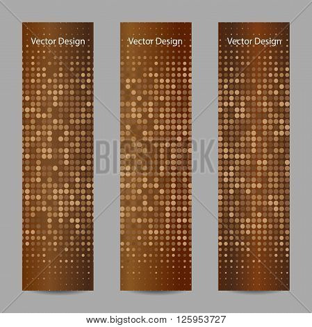 Set of vertical banners. Abstract doted brown background. Halftone. Vector illustration. Business, science, medicine and technology design.