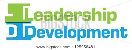 Leadership development text written over colorful background.