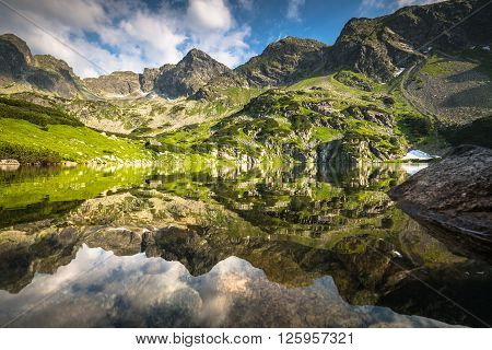 View of the Gasienicowa valley and the Zielony Staw lake in Tatra mountains ** Note: Visible grain at 100%, best at smaller sizes