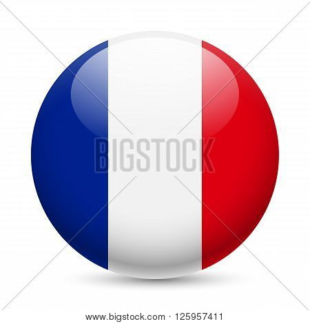 Flag of France as round glossy icon. Button with French flag