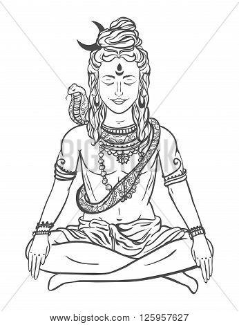 Ornament beautiful card with God Shiva. Illustration of Happy Maha Shivaratri. Mahashivaratri festival. Hinduism in India. Mediation, Shiva represents the cosmic consciousness, the masculine universe