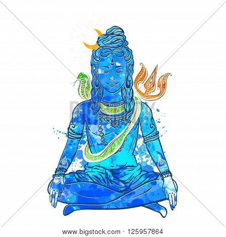 Card with God Shiva. Illustration of Happy Maha Shivaratri. Mahashivaratri festival. Hinduism in India. The God included, along with Brahma and Vishnu triad in the divine and supreme god in Saivism