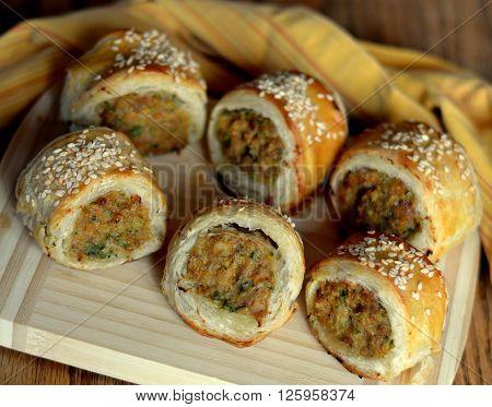 Chicken Sausage Rolls; Savoury Puff Pastry Appetizer