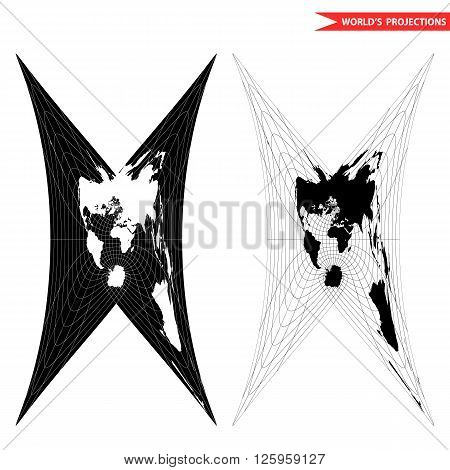 Cassini world map projection. Black and white world map vector illustration.