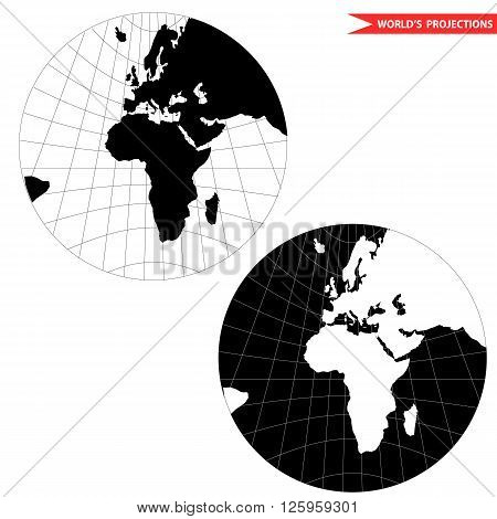 gonomic world map projection. Black and white world map vector illustration.
