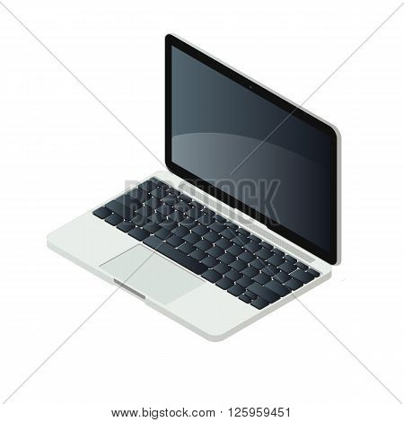 Isometric laptop pc isolated on white background vector illustration. Elegand aluminium computer with modern design. Keyboard, trackpad and lcd screen elements.
