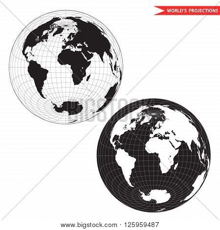 Lambert azimuthal equal-area world map projection. Black and white world map vector illustration.