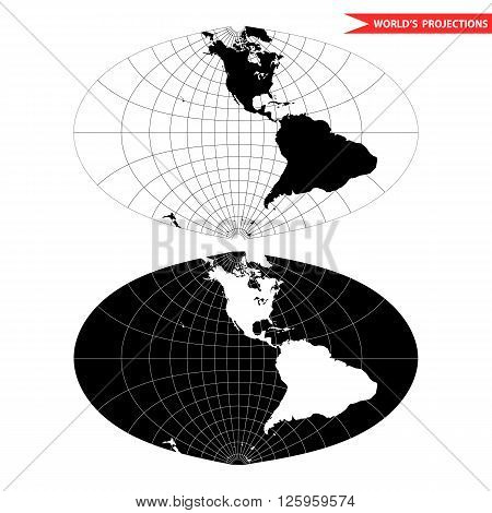 oval world map projection. Black and white world map vector illustration.