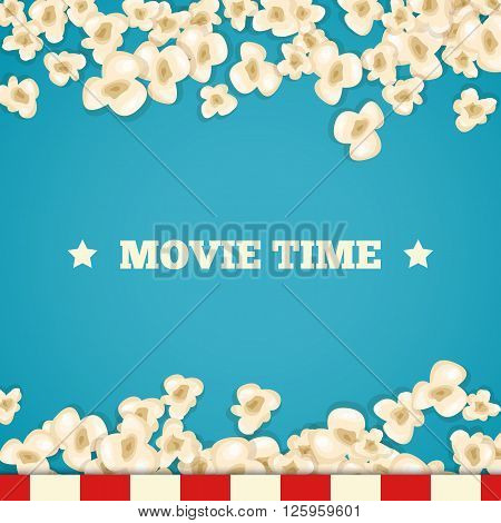 Heap popcorn for movie lies on blue background. Vector illustration cinema design. Pop corn food pile isolated. Border and frame film poster flyer. Delicious theater sweet or salted snack.