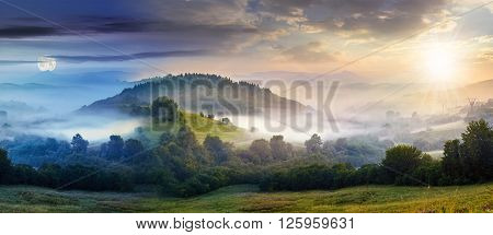 mysterious summer landscape composite image of day and night with cold morning fog on hillside in mountainous rural area