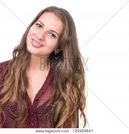 close up portarit of beautiful coquette young woman isolated on white studio shot