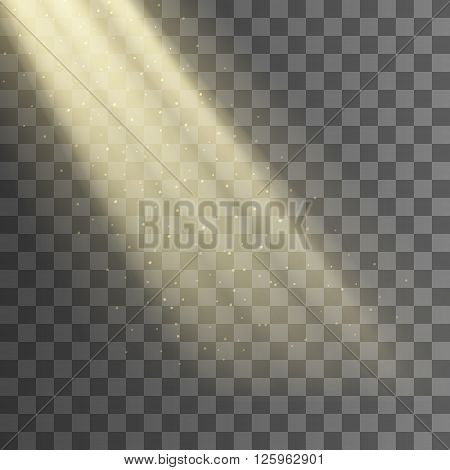 Rays of light. Vector effect. Light from the window background. Transparent background. Beam of light and dust. EPS 10.