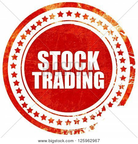 stock trading, isolated red stamp on a solid white background