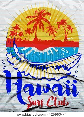 Hawaii Surf Illustration / t-shirt graphics / vectors/ typography/ pacific surf wave/ summer tropical heat print/ surf print vector set/ wave illustration