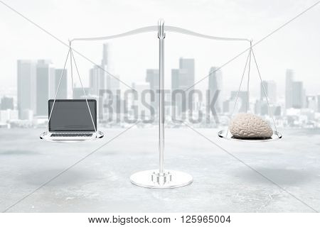 Balance scale with brain and laptop on grey city background. 3D Rendering