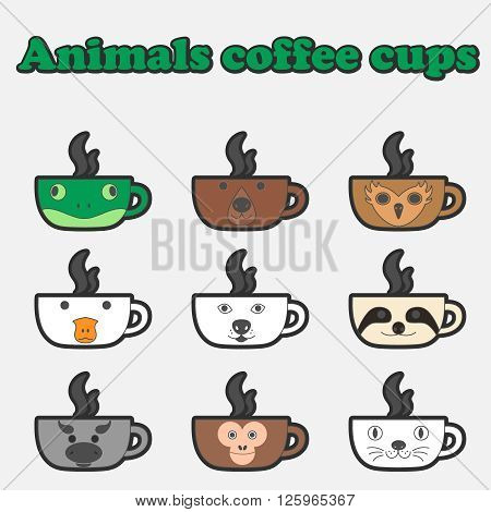Colorful and Cute vector coffee cup collection. A set of beverage cup, coffee mug with Animal faces