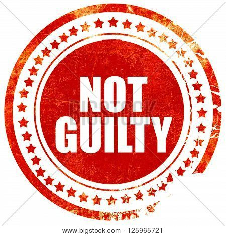 not guilty, isolated red stamp on a solid white background