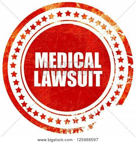 medical lawsuit, isolated red stamp on a solid white background