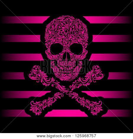 Floral pattern of form pink skull and crossbones. Pink stripes. Emo
