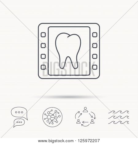 Dental x-ray icon. Orthodontic roentgen sign. Global connect network, ocean wave and chat dialog icons. Teamwork symbol.