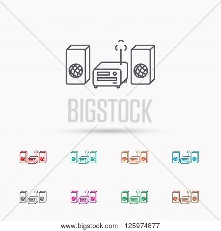 Music center icon. Stereo system sign. Linear icons on white background.